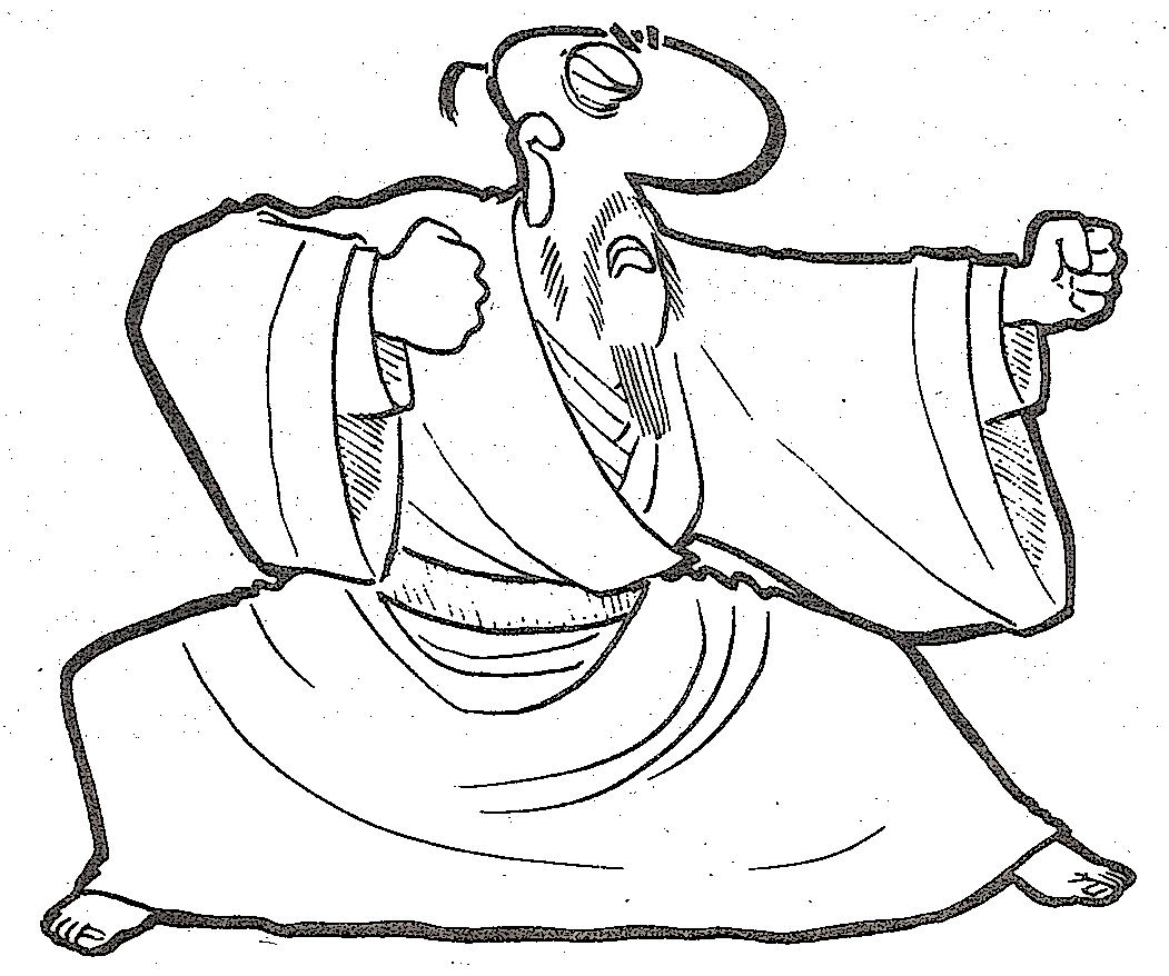 monk facing right